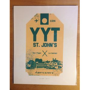 St. John's Airport luggage tag8 x 10 screen print (creme)