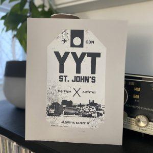 St. John's Airport luggage tag8 x 10 screen print (grey)