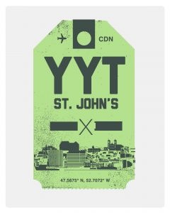 St. John's Airport luggage tag8 x 10 screen print (green)