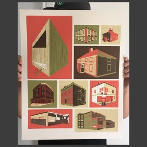 'Newfoundland Buildings' 16 x 20 screen print